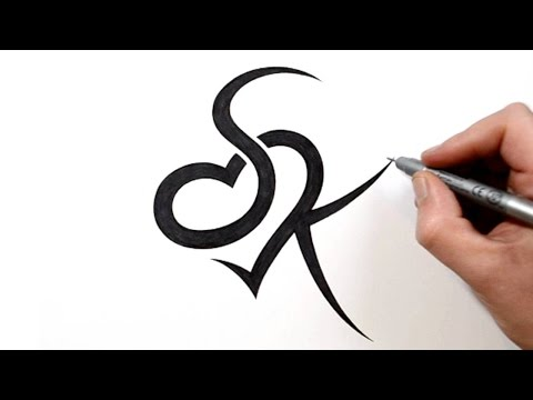 Combining Initials S And K With A Heart Tattoo Design Youtube
