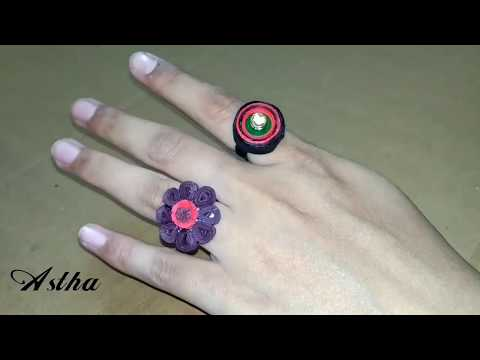 How to Make Quilling Finger Ring | Quilling Flower Finger Ring | Quilling Jewelry