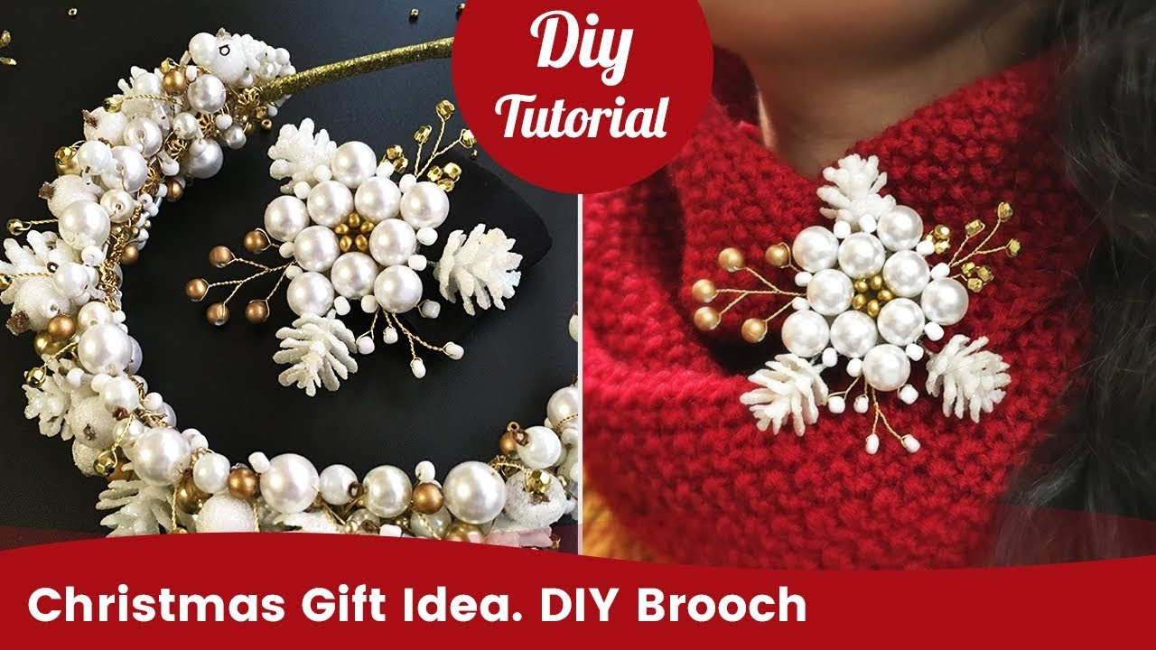 Diy christmas gift idea. Handmade beaded pearl brooch. Youtube.