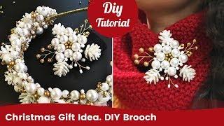 DIY Christmas Gift Idea. Handmade Beaded Pearl Brooch