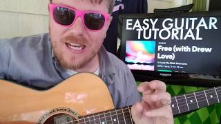 How To Play Free Louis The Child, Drew Love // Easy Guitar Tutorial Beginner Lesson Chords