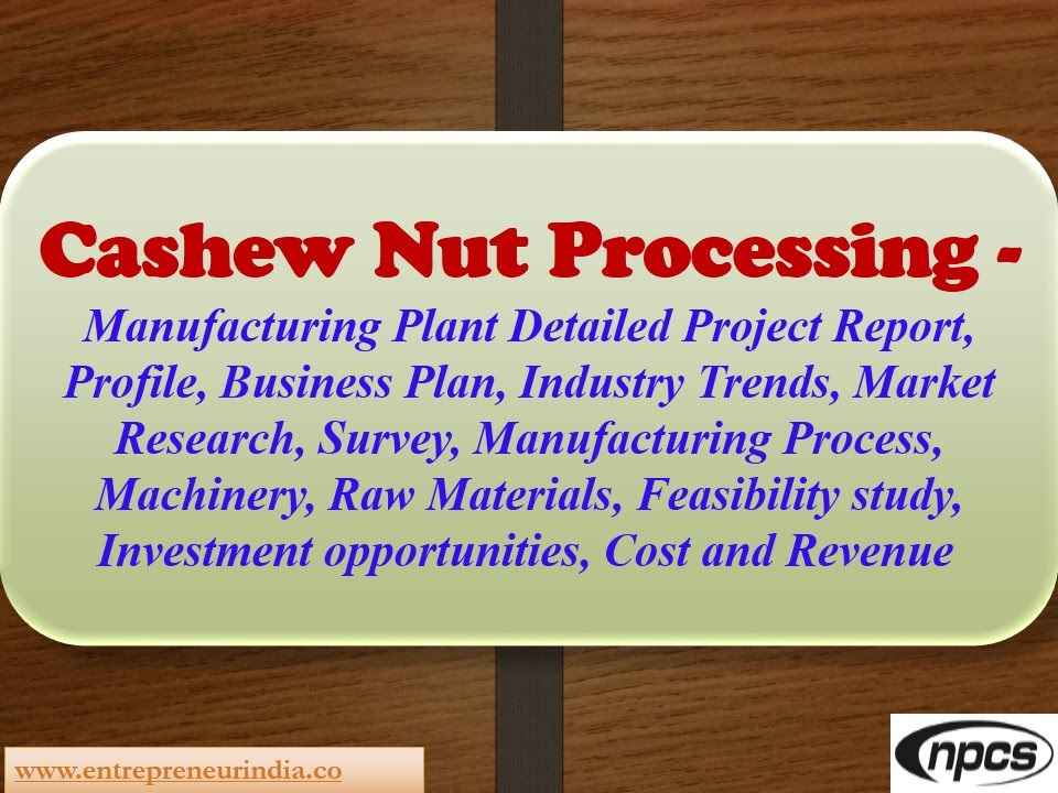 Cashew Nut Processing - Detailed Project Report, Market Research