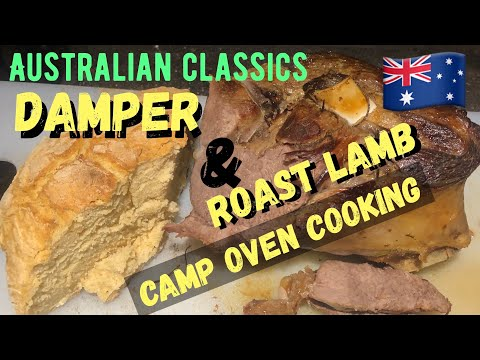 Damper and Roast Lamb - Camp Oven Cooking - Dutch oven #Australia #Australianfood
