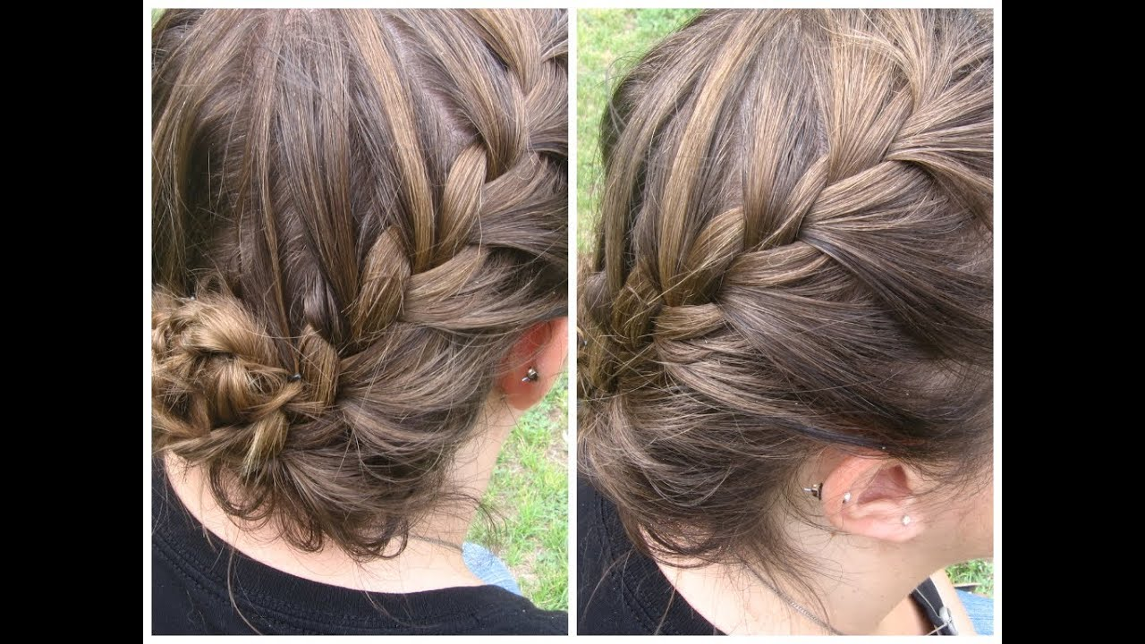 ♥ french braided updo for short hair ♥ summer hairstyles - youtube