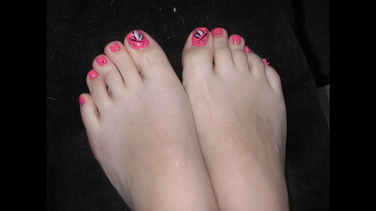Quick easy butterfly toenail art tutorial youtube prinsesfo Image collections