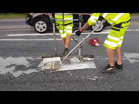 Thermoplastic road marking lines and arrows project in Stockholm-Sweden!