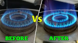 How To Repair Gas Stove Low Flame | How To Clean Gas Stove Burner | Kitchen Hacks