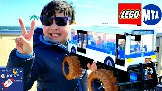 Johny Makes A LEGO NYC MTA BUS TOY With RC Monster Wheels