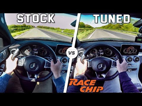 Mercedes AMG C43 ACCELERATION & TOP SPEED POV AUTOBAHN Stock vs RaceChip 0-250 km/h by AutoTopNL