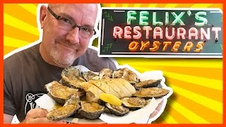 A Dozen Char-grilled Oysters At Felix's Restaurant In New Orleans, Louisiana