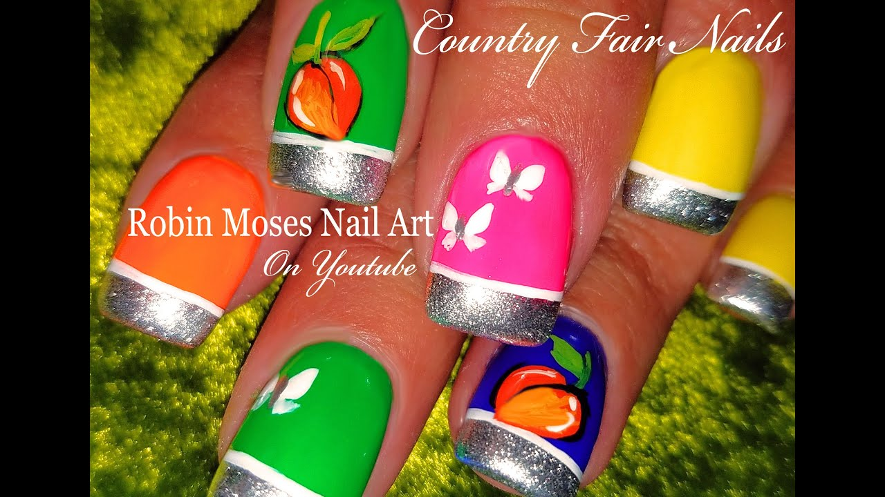 OPI Tru Neon Nails | DIY Hand painted PEACHES Nail Art Design ...
