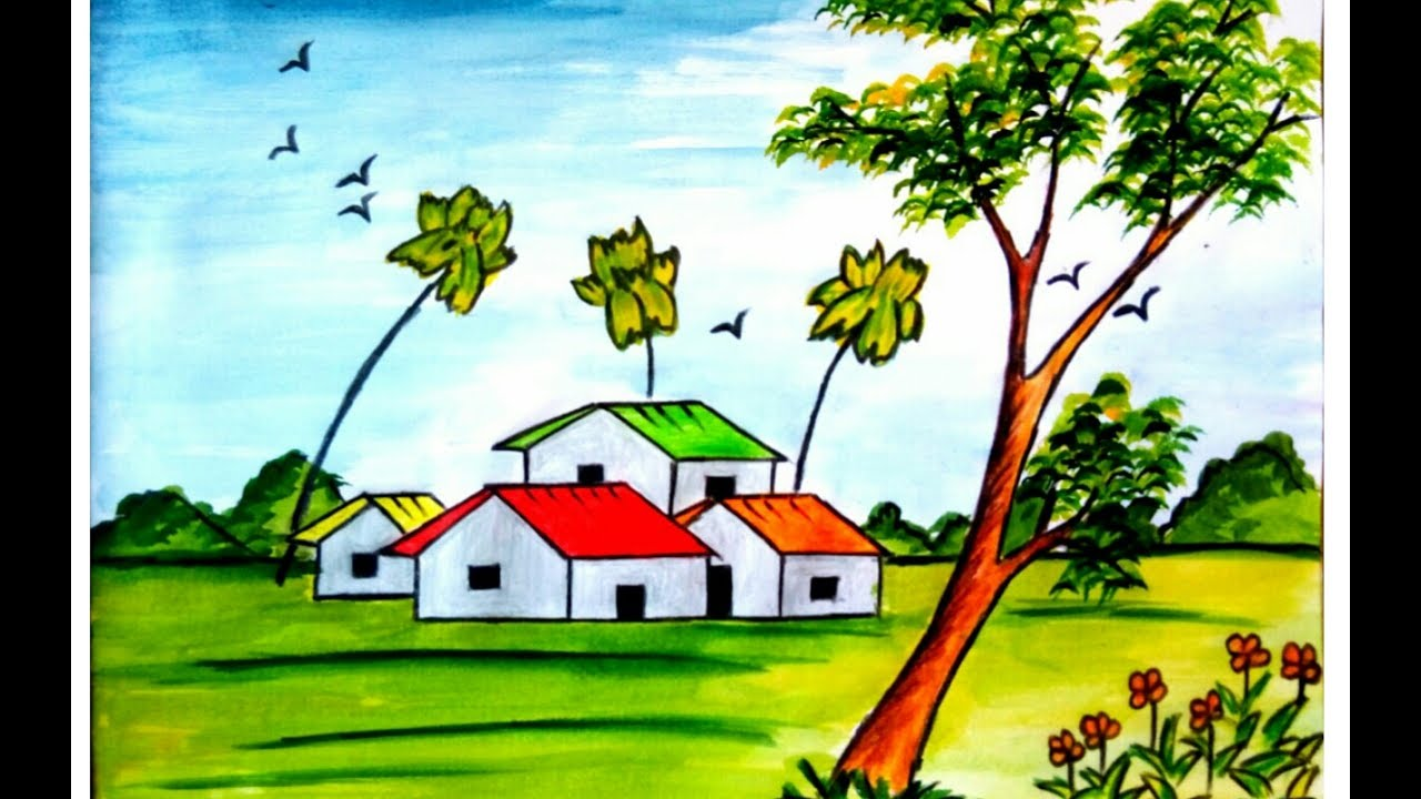 How to draw a scenery of village house with watercolour ...