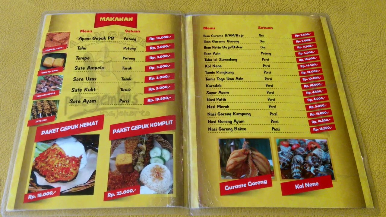 Daftar Menu Ayam Gepuk Pak Gembus Jogjakarta Youtube