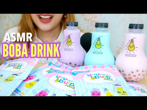 ASMR Drinking Sounds : Milk Boba Drink by Unyu Unyu Bulp Drink 🥤 (Whispered) | ASMR Indonesia #Ad