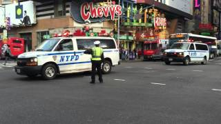 2 BRAND NEW NYPD SRG 1 VANS RESPONDING ON WEST 42ND ST. IN TIMES SQUARE, MANHATTAN, NEW YORK CITY.