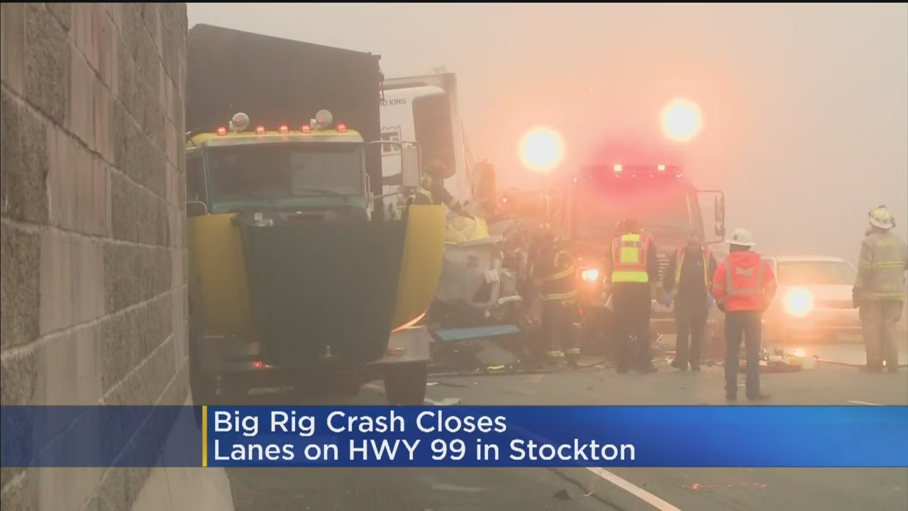 3 Big Rigs, Car Involved In Fatal Crash On Highway 99 Near Stockton