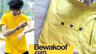 Bewakoof Mustard yellow full sleeve henley t shirt  honest review Nd demo