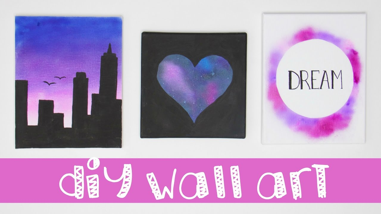 3 diy wall art designs using an air brush youtube for Diy room decor ideas nim c