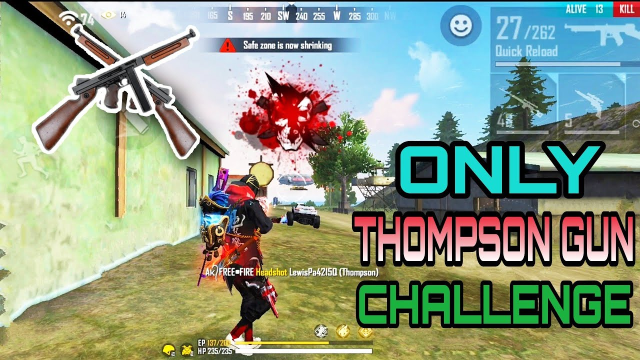 ONLY ONE THOMPSON GUN ⚡️ CHALLENGE IN RANKED MATCH 🔥 THOMPSON GUN CHALLENGE GAMEPLAY FREE FIRE #AKFF