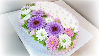 Торт с Герберами и Хризантемами крем БЗК Cake with gerberas and chrysanthemums protein custard