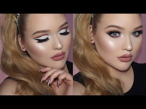 0b75afbb2cc GLAM Sparkly Cut Crease Makeup - Matte Nude Lips Tutorial - YouTube