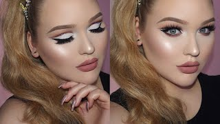 GLAM Sparkly Cut Crease Makeup - Matte Nude Lips Tutorial