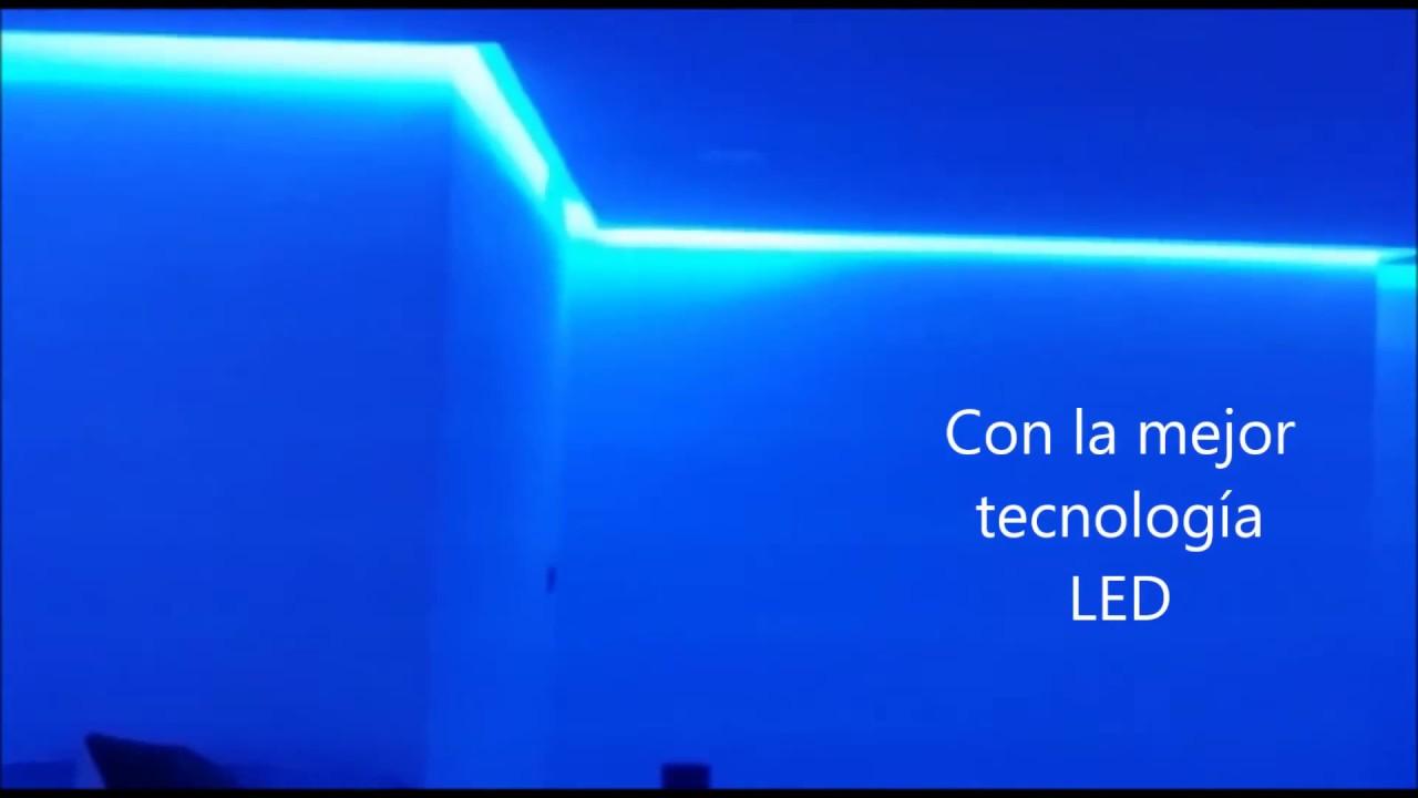 Luz led rgb para dormitorio o sal n youtube - Cornisa para led ...