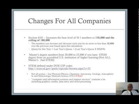 H-1 and L-1 Under S. 744, Conference Call with Employers on 26 April 2013