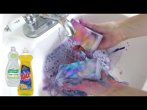 ASMR Mr. Clean Magic Erasers Rainbow Soapy Squeezing and Rinsing