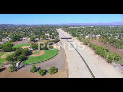 4K, Aerial,  Panorama Of San Fernando Valley And Los Angeles River