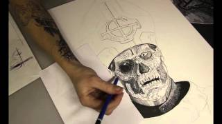 Timelapse Ink Drawing Ghost B.C. Papa Emeritus II