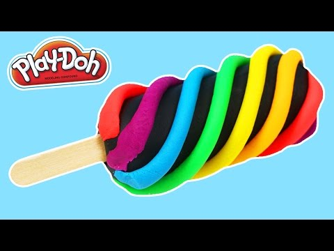 PLAY DOH Rainbow Swirl Popsicle DIY  | LEARN COLORS Play Dough Rainbow Activity!
