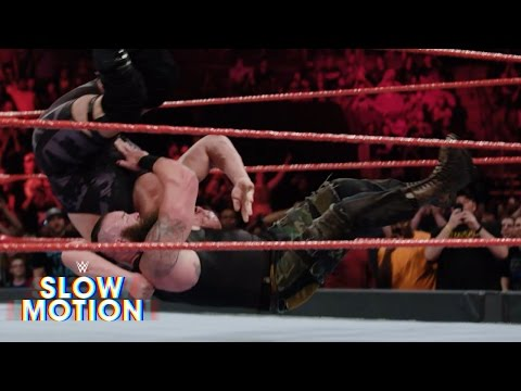 Thumbnail: Unbelievable slow-mo video of Braun Strowman and Big Show destroying the ring: April 17, 2017