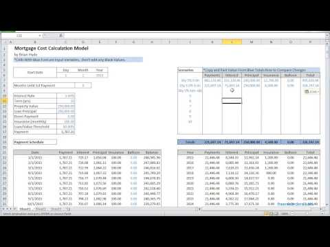 Excel Mortgage Cost Calculator