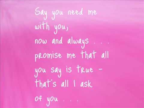 All I ask of you- Lyrics - YouTube