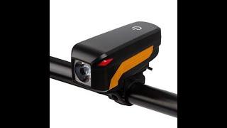 Đèn pin xe đạp kết hợp còi điện: Led siêu sáng, pin Lithium, sạc USB - DX10