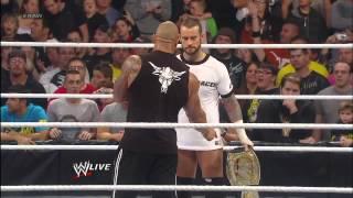 (WWE RAW 1/7/13) The Rock Returns & interrupts WWE Champion CM Punk