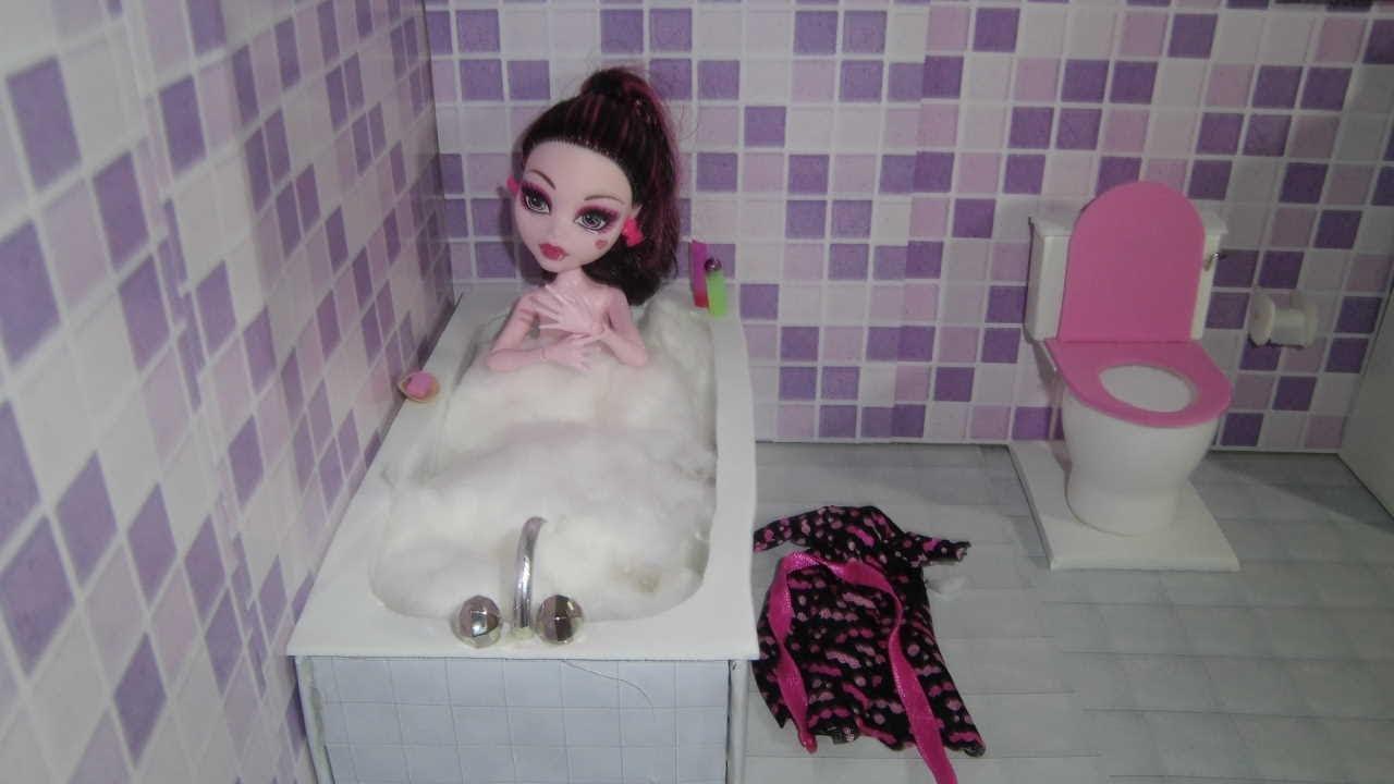 Como fazer um banheiro (banheira) para boneca Monster High, Barbie, Pullip e  -> Um Banheiro Com Banheira