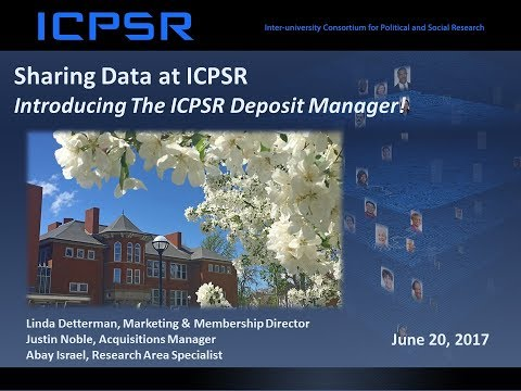 A Demonstration of ICPSR's New Data Deposit System