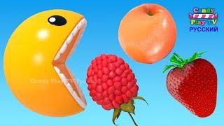 3D Пакман | Учим цвета для детей | Учим название фруктов и овощей | 3D Анимация для малышей thumbnail