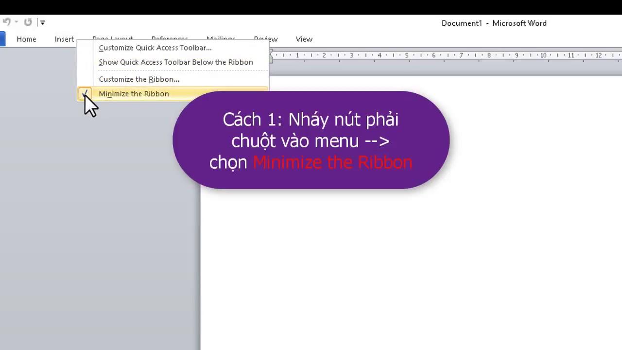 Hiển thị thanh công cụ MS Office 2007,2010,2013