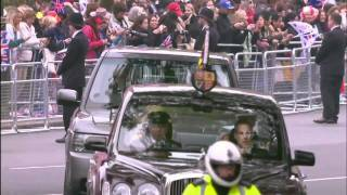 The Queen and The Duke of Edinburgh travel from Buckingham Palace to Westminster Abbey