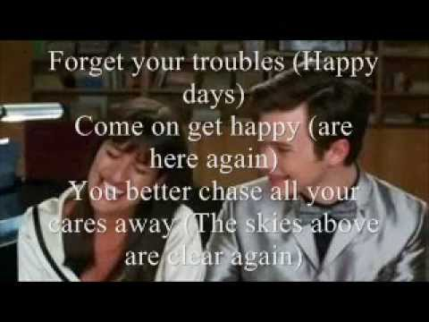 Happy Days Are Here Again/Get Happy Glee Lyrics - YouTube