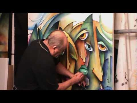 painting demo. 'Urban Expression' mixing and blending, creating colors. How to, not abstract