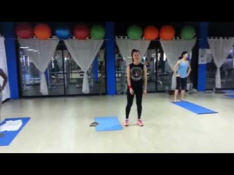 Fitness class at Beebee gym in Vientiane with guest instructor Lærke Riisberg Mikkelsen