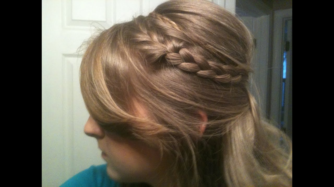 Cute Half Updo Poof Bump With Headband Braids Youtube