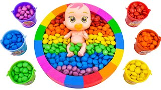 Satisfying Asmr l How To Make Rainbow Circle Pool & Candy With Kinetic Sand Cutting ASMR #307
