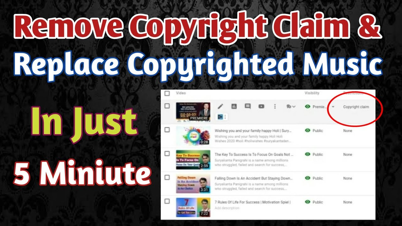 How To Remove Copyright Claim On Youtube 2020 Replacement Of Copyrighted Music Youtube