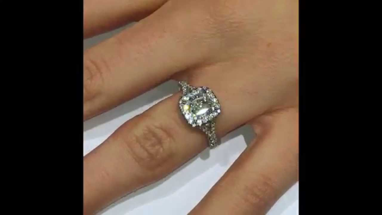 Cushion Cut Diamond Engagement Ring In Halo And Split