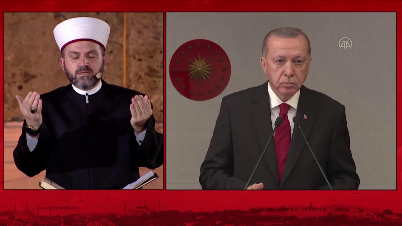 Ayasofya'da Cumhurbaşkanı Erdoğan'ın katılımıyla Fetih Suresi okundu